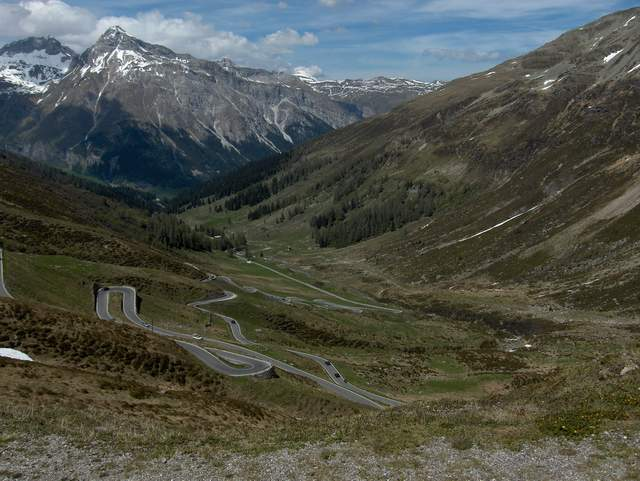 Hairpin turns near Splugen, Switzerland