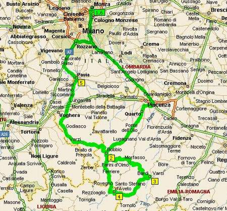 A route south of Milan