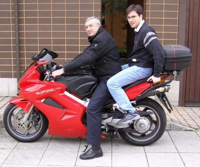 Silvio and Davide on his Honda VFR