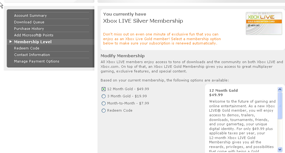 Xbox Live Membership Screen