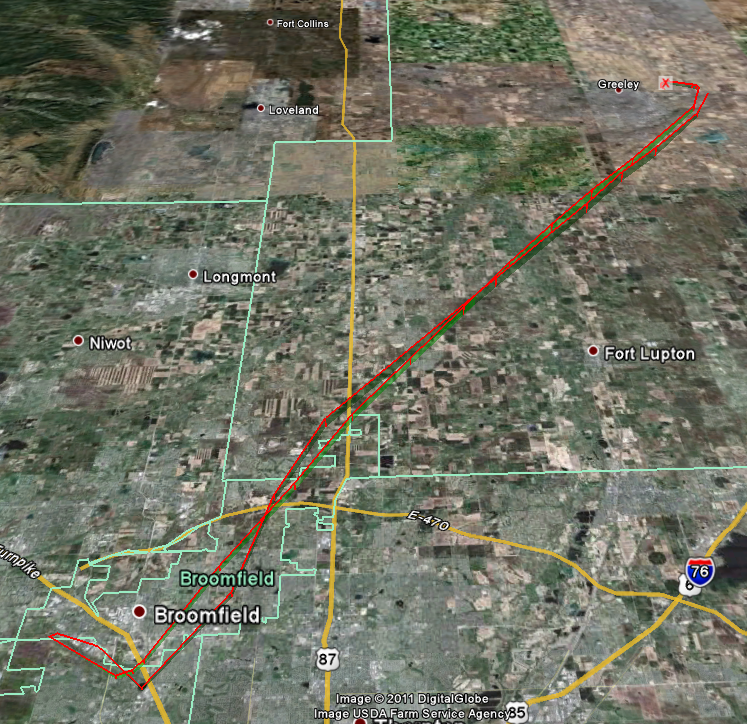 APRS Google Earth of k0lee