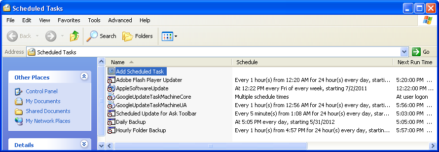 The Task Scheduler for Windows XP